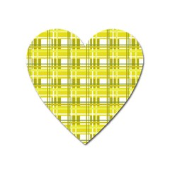 Yellow Plaid Pattern Heart Magnet by Valentinaart