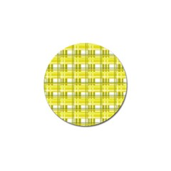 Yellow Plaid Pattern Golf Ball Marker by Valentinaart