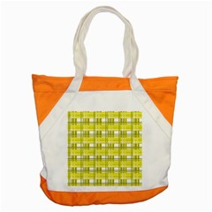 Yellow Plaid Pattern Accent Tote Bag by Valentinaart