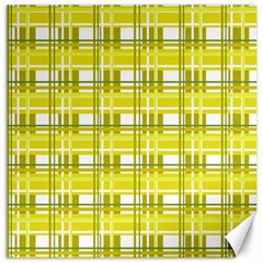 Yellow Plaid Pattern Canvas 16  X 16   by Valentinaart