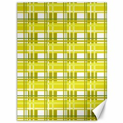 Yellow Plaid Pattern Canvas 36  X 48   by Valentinaart