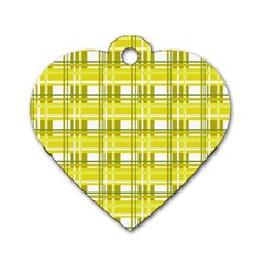 Yellow Plaid Pattern Dog Tag Heart (one Side)
