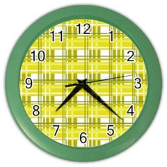 Yellow Plaid Pattern Color Wall Clocks by Valentinaart