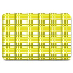 Yellow Plaid Pattern Large Doormat