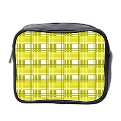 Yellow Plaid Pattern Mini Toiletries Bag 2 Side by Valentinaart