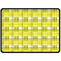 Yellow Plaid Pattern Fleece Blanket (large)  by Valentinaart