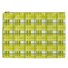 Yellow Plaid Pattern Cosmetic Bag (xxl)  by Valentinaart