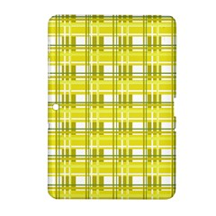 Yellow Plaid Pattern Samsung Galaxy Tab 2 (10 1 ) P5100 Hardshell Case  by Valentinaart