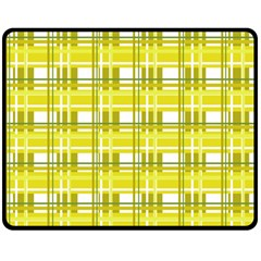 Yellow Plaid Pattern Double Sided Fleece Blanket (medium)  by Valentinaart