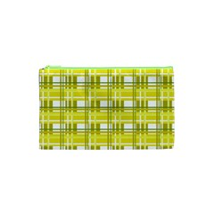 Yellow Plaid Pattern Cosmetic Bag (xs) by Valentinaart