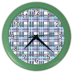 Decorative Plaid Pattern Color Wall Clocks by Valentinaart