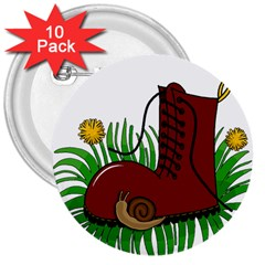 Boot In The Grass 3  Buttons (10 Pack)  by Valentinaart