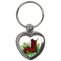 Boot In The Grass Key Chains (heart)  by Valentinaart