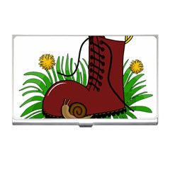 Boot In The Grass Business Card Holders by Valentinaart
