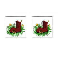 Boot In The Grass Cufflinks (square) by Valentinaart