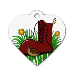 Boot In The Grass Dog Tag Heart (one Side) by Valentinaart