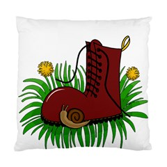 Boot In The Grass Standard Cushion Case (one Side) by Valentinaart