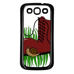 Boot In The Grass Samsung Galaxy S3 Back Case (black) by Valentinaart
