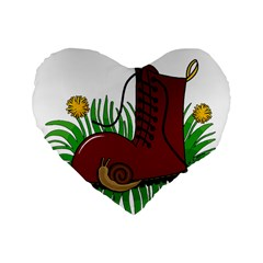 Boot In The Grass Standard 16  Premium Flano Heart Shape Cushions by Valentinaart