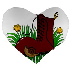 Boot In The Grass Large 19  Premium Flano Heart Shape Cushions by Valentinaart