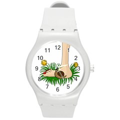 Barefoot In The Grass Round Plastic Sport Watch (m) by Valentinaart