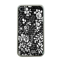 Vintage Black And White Flower Apple Iphone 4 Case (clear) by Brittlevirginclothing