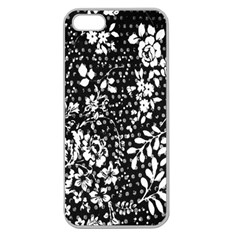 Vintage Black And White Flower Apple Seamless Iphone 5 Case (clear) by Brittlevirginclothing