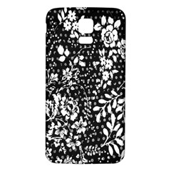 Vintage Black And White Flower Samsung Galaxy S5 Back Case (white) by Brittlevirginclothing