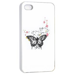 Lovely Butterfly Apple Iphone 4/4s Seamless Case (white) by Brittlevirginclothing