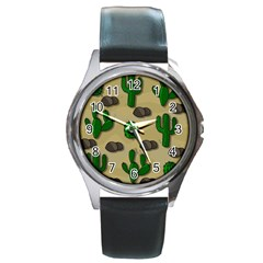 Cactuses Round Metal Watch by Valentinaart