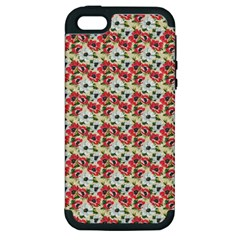 Gorgeous Red Flower Pattern  Apple Iphone 5 Hardshell Case (pc+silicone) by Brittlevirginclothing