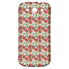 Gorgeous Red Flower Pattern  Samsung Galaxy S3 S Iii Classic Hardshell Back Case by Brittlevirginclothing