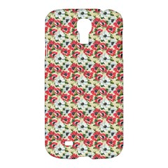 Gorgeous Red Flower Pattern  Samsung Galaxy S4 I9500/i9505 Hardshell Case by Brittlevirginclothing