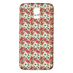Gorgeous Red Flower Pattern  Samsung Galaxy S5 Back Case (white) by Brittlevirginclothing