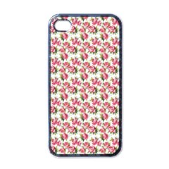 Gorgeous Pink Flower Pattern Apple Iphone 4 Case (black) by Brittlevirginclothing