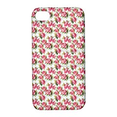 Gorgeous Pink Flower Pattern Apple Iphone 4/4s Hardshell Case With Stand by Brittlevirginclothing