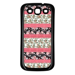 Cute Flower Pattern Samsung Galaxy S3 Back Case (black) by Brittlevirginclothing