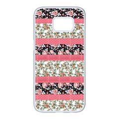 Cute Flower Pattern Samsung Galaxy S7 Edge White Seamless Case by Brittlevirginclothing