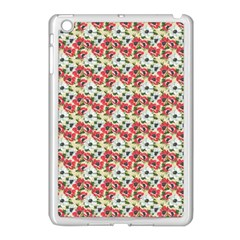 Gorgeous Red Flower Pattern  Apple Ipad Mini Case (white) by Brittlevirginclothing