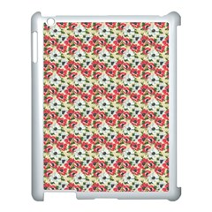 Gorgeous Red Flower Pattern  Apple Ipad 3/4 Case (white) by Brittlevirginclothing