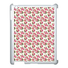 Gorgeous Pink Flower Pattern Apple Ipad 3/4 Case (white) by Brittlevirginclothing