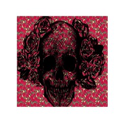 Vintage Pink Flowered Skull Pattern  Small Satin Scarf (square) by Brittlevirginclothing