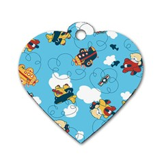 Bear Aircraft Dog Tag Heart (one Side)