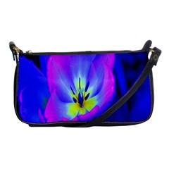 Blue And Purple Flowers Shoulder Clutch Bags by AnjaniArt