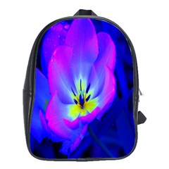 Blue And Purple Flowers School Bags (xl)  by AnjaniArt