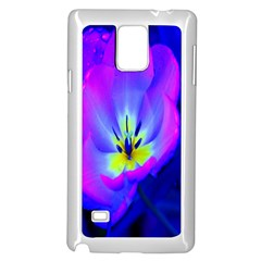 Blue And Purple Flowers Samsung Galaxy Note 4 Case (white)