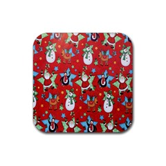 Xmas Santa Clause Rubber Square Coaster (4 Pack)  by AnjaniArt