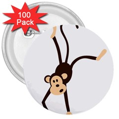 Colorful Animal Monkey 3  Buttons (100 Pack)
