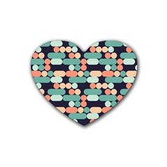 Coral Mint Color Style Rubber Coaster (heart)  by AnjaniArt