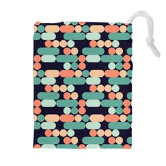 Coral Mint Color Style Drawstring Pouches (extra Large) by AnjaniArt